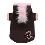 View Image 1 of Skull Mohawk Dog Hoodie by Hip Doggie - Brown and Pink