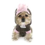 View Image 2 of Skull Mohawk Dog Hoodie by Hip Doggie - Brown and Pink