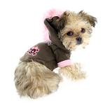 View Image 3 of Skull Mohawk Dog Hoodie by Hip Doggie - Brown and Pink