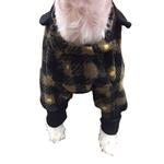 View Image 5 of SnoJam Dog Fleece Bodysuit by Ultra Paws - Buffalo Dog, Black/Taupe