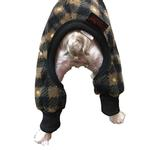 View Image 2 of SnoJam Dog Fleece Bodysuit by Ultra Paws - Buffalo Dog, Black/Taupe