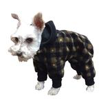 View Image 1 of SnoJam Dog Fleece Bodysuit by Ultra Paws - Buffalo Dog, Black/Taupe