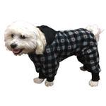View Image 1 of SnoJam Dog Fleece Bodysuit by Ultra Paws - Buffalo Dog, Grey/Red