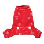 View Image 1 of Snowflake Dog Long Johns by Hip Doggie - Red