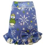 View Image 1 of Snowman Snowflake Pullover Dog Dress With Bow - Light Blue