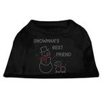View Image 1 of Snowman's Best Friend Rhinestone Dog Shirt - Black