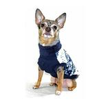 View Image 4 of Snowflake Fleece Dog Vest by Hip Doggie - Blue