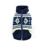 View Image 1 of Snowflake Fleece Dog Vest by Hip Doggie - Blue