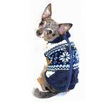 View Image 2 of Snowflake Fleece Dog Vest by Hip Doggie - Blue