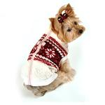 View Image 2 of Snowflake Fleece Dog Vest by Hip Doggie - White