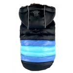 View Image 2 of Soft Stripe Puffer Dog Coat By Hip Doggie - Black
