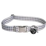 View Image 1 of Southern Dawg Gingham Dog Collar by Yellow Dog - Gray