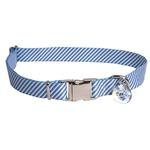 View Image 1 of Southern Dawg Seersucker Dog Collar by Yellow Dog - Navy Blue