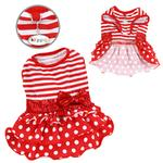 View Image 1 of Sparkling Bow Ruffle Layered Dog Dress by Klippo - Red