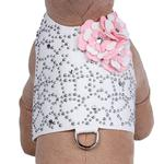 View Image 1 of Special Occasion Bailey Dog Harness by Susan Lanci - White Charlotte's Web with Puppy Pink Flowers