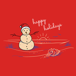 View Image 2 of Sand Snowman Holiday Dog Shirt - Red