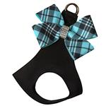 View Image 1 of Scotty Nouveau Bow Step-In Dog Harness by Susan Lanci - Black with Tiffi Blue Plaid