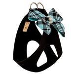 View Image 2 of Scotty Nouveau Bow Step-In Dog Harness by Susan Lanci - Black with Tiffi Blue Plaid