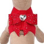 View Image 1 of Stardust Tail Bow Heart Tinkie Dog Harness by Susan Lanci - Red