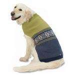 View Image 1 of Stormy's Snowflake Fair Isle Dog Sweater - Green and Navy