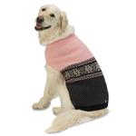 View Image 1 of Stormy's Snowflake Fair Isle Dog Sweater - Pink and Black