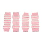View Image 1 of Striped Dog Leg Warmers - Pink and White