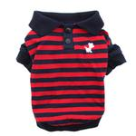 View Image 1 of Striped Dog Polo by Dobaz - Navy and Red