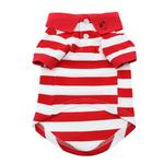 View Image 2 of Striped Dog Polo by Doggie Design - Flame Scarlet Red and White