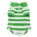 View Image 2 of Striped Dog Polo by Doggie Design - Greenery and White