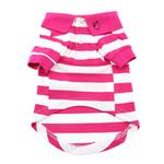 View Image 2 of Striped Dog Polo by Doggie Design - Pink Yarrow and White
