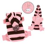 View Image 1 of Stripy Dog Bodysuit with Long Hoodie by Klippo - Pink