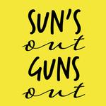 View Image 2 of Sun's Out Guns Out Dog Shirt - Yellow