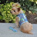 View Image 1 of Surfboard Blue and Green Cool Mesh Dog Harness with Matching Leash by Doggie Design