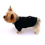 View Image 2 of Cannes Cardigan Dog Sweater by The Dog Squad - Black