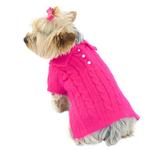 View Image 1 of Luxury Preppy Polo Cable Knit Dog Sweater - Fuchsia