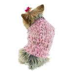 View Image 1 of Marilyn Button Back Cardigan Dog Sweater - Pink Leopard