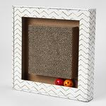View Image 1 of Sylvester's Interactive Cat Scratcher - Square Chevron White and Gray