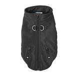 View Image 1 of Techie Water-Resistant Harness Dog Coat - Black