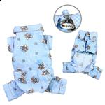 View Image 1 of Teddy Bear Love Flannel Dog Pajamas - Light Blue