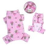 View Image 1 of Teddy Bear Love Flannel Dog Pajamas - Pink