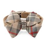 View Image 1 of Scotty Nouveau Bow Luxury Dog Collar by Susan Lanci - Doe Plaid