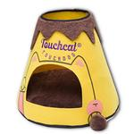 View Image 1 of Touchcat 'Molten Lava'  Designer Cat Bed House with Teaser Toy - Yellow