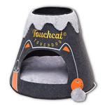 View Image 1 of Touchcat 'Molten Lava'  Designer Cat Bed House with Teaser Toy - Charcoal