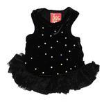 View Image 1 of Velvet Twinkle Tutu Dog Dress by The Dog Squad - Black