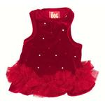 View Image 1 of Velvet Twinkle Tutu Dog Dress by The Dog Squad - Red
