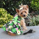 View Image 1 of Twilight Black Hawaiian Hibiscus Dog Dress with Leash by Doggie Design