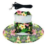 View Image 2 of Twilight Black Hawaiian Hibiscus Dog Dress with Leash by Doggie Design