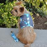 View Image 1 of Ukulele Blue Hibiscus Cool Mesh Dog Harness with Matching Leash by Doggie Design