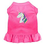 View Image 1 of Unicorns Rock Embroidered Dog Dress - Bright Pink