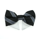 View Image 1 of Dog Bow Tie Collar Attachment by Doggie Design - Black and Silver Stripe